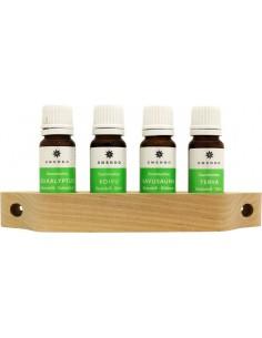 Esencias para sauna Emendo 4 uds x 10 ml en repisa de madera