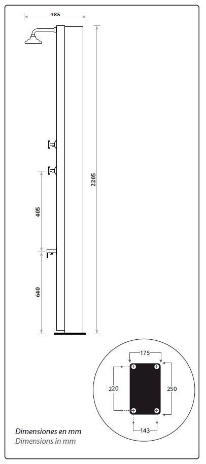 Dimensiones ducha solar piscina Ultramarine CRM