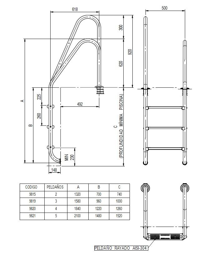 Dimensiones escalera inoxidable estándar asimétrica AISI304