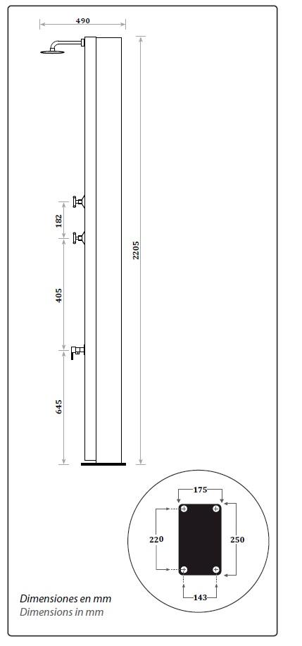 Dimensiones ducha solar piscina Cross CRM