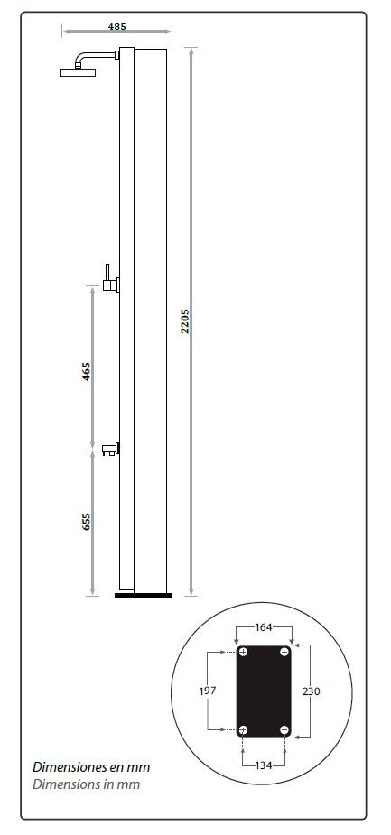 Dimensiones ducha solar piscina Watermixer CRM