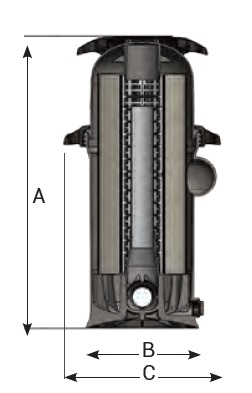 Dimensiones filtro cartucho piscina Swimclear Hayward