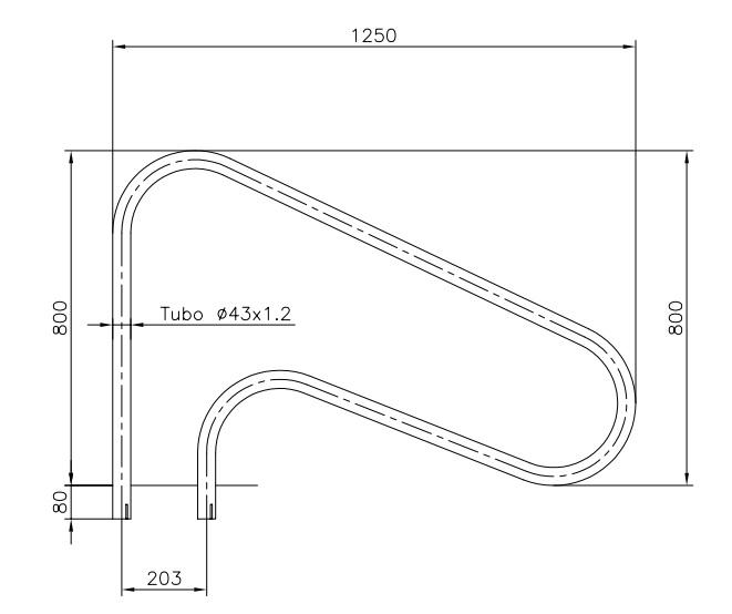 Dimensiones barandilla exterior 1250 mm. AISI316