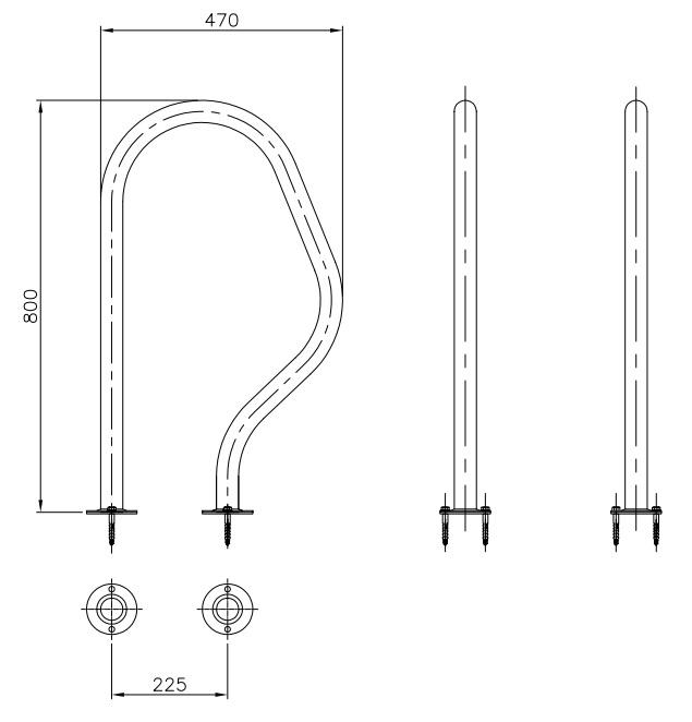 Dimensiones juego pasamanos 470 x 800 mm AISI316
