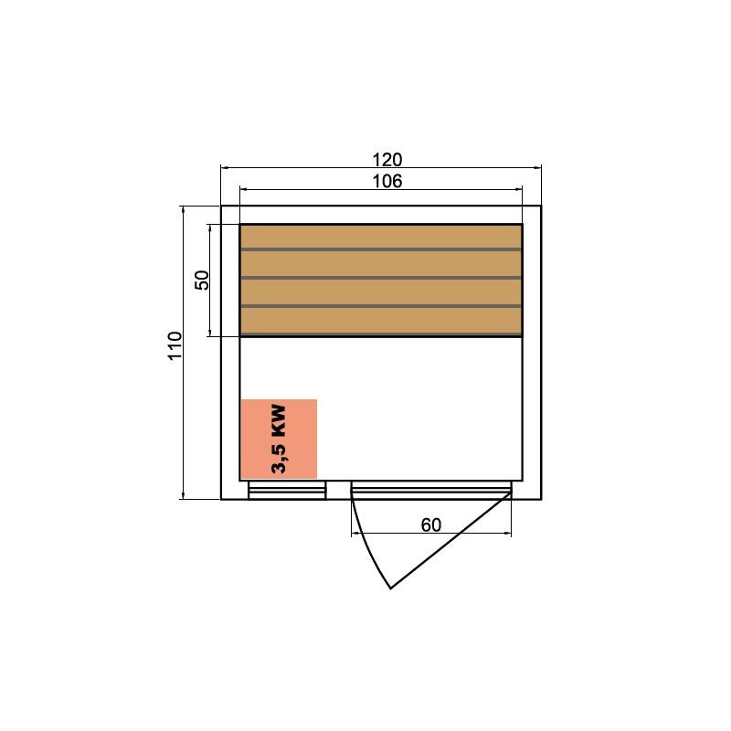 Sauna de infrarrojos de lujo dimensiones 1 lugares