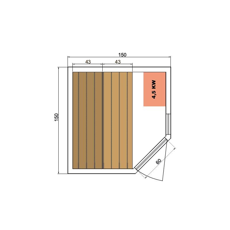 Sauna de infrarrojos de lujo dimensiones 2-3 lugares