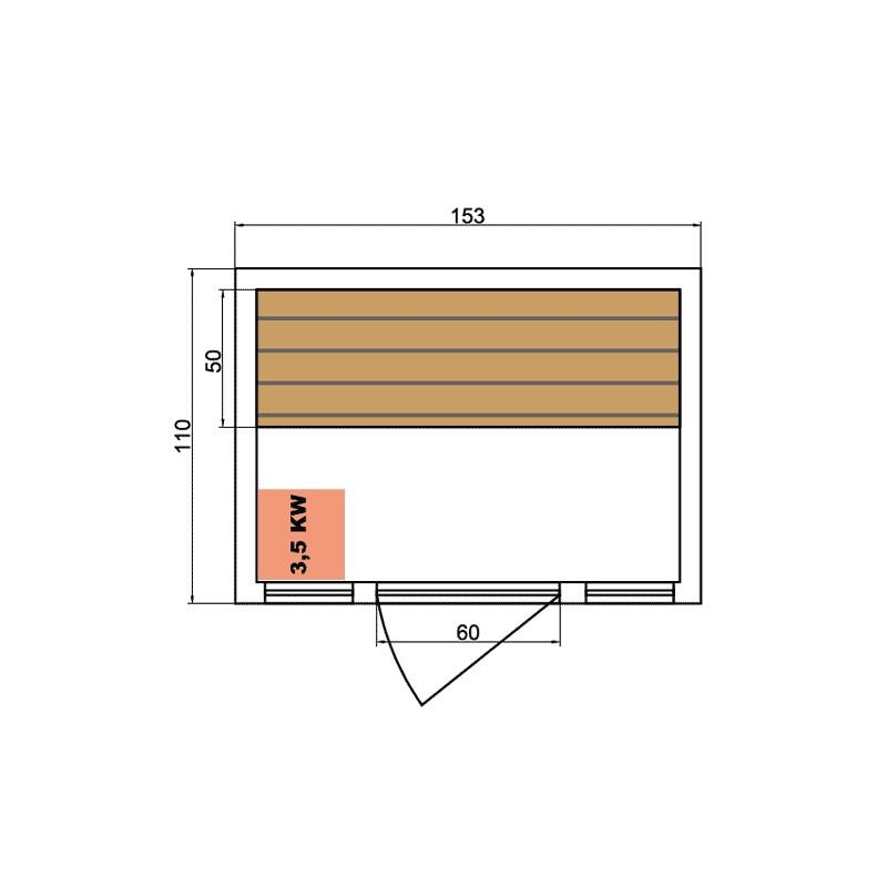 Sauna de infrarrojos de lujo dimensiones 2 plazas.