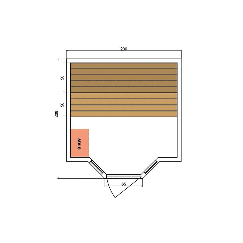 Sauna de infrarrojos de lujo dimensiones 3-4 lugares