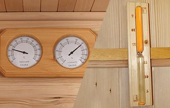 Iluminación interior y exterior de lujo sauna.